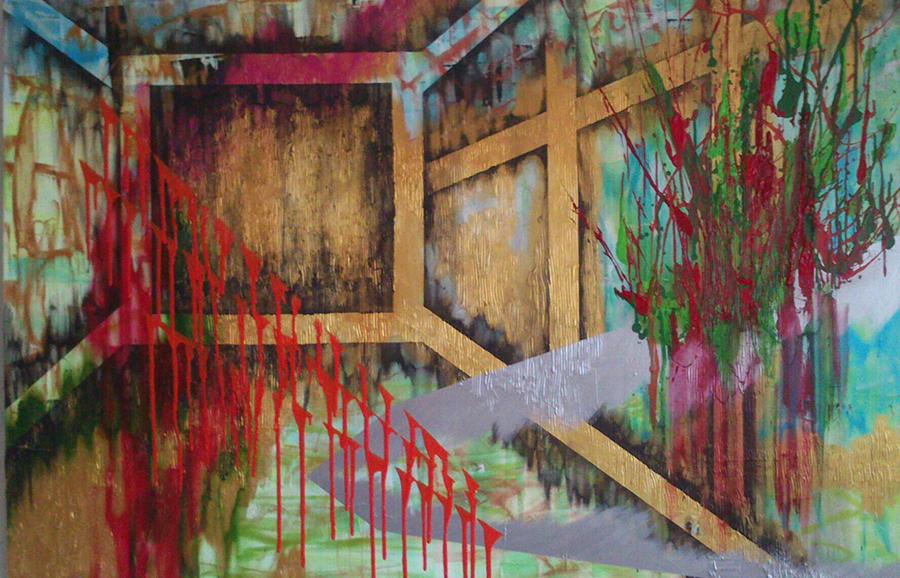 Explosiv garden 100x150 cm Akryl na plátně Praha 2013_small