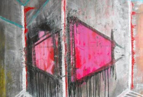 Kremace lásky 100x100 cm Akryl na plátně Praha 2011_small
