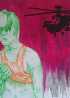 Arabic Boy and Apache 100x100cm Akryl na plátně Praha 2013