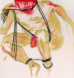 Bondage Boy 100x100cm Akryl na plátně Praha 2012