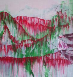 Chlapec s hranostajem 100x150 cm Akryl na plátně Praha 2013